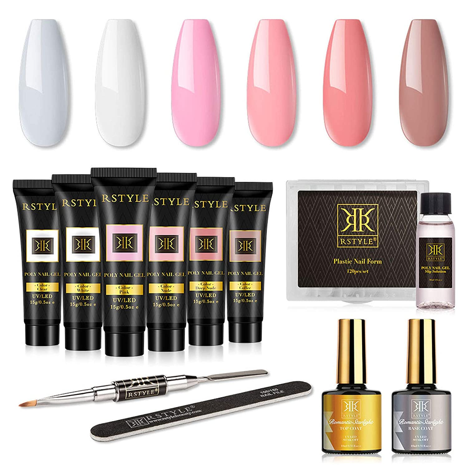 RSTYLE Poly Gel Nail Kit, 6 Poly Gel Colors Nail Extension Builder Gel Kit with Slip Solution Top and Base Coat French Manicure Kit for Beginner DIY at Home in Gift Box