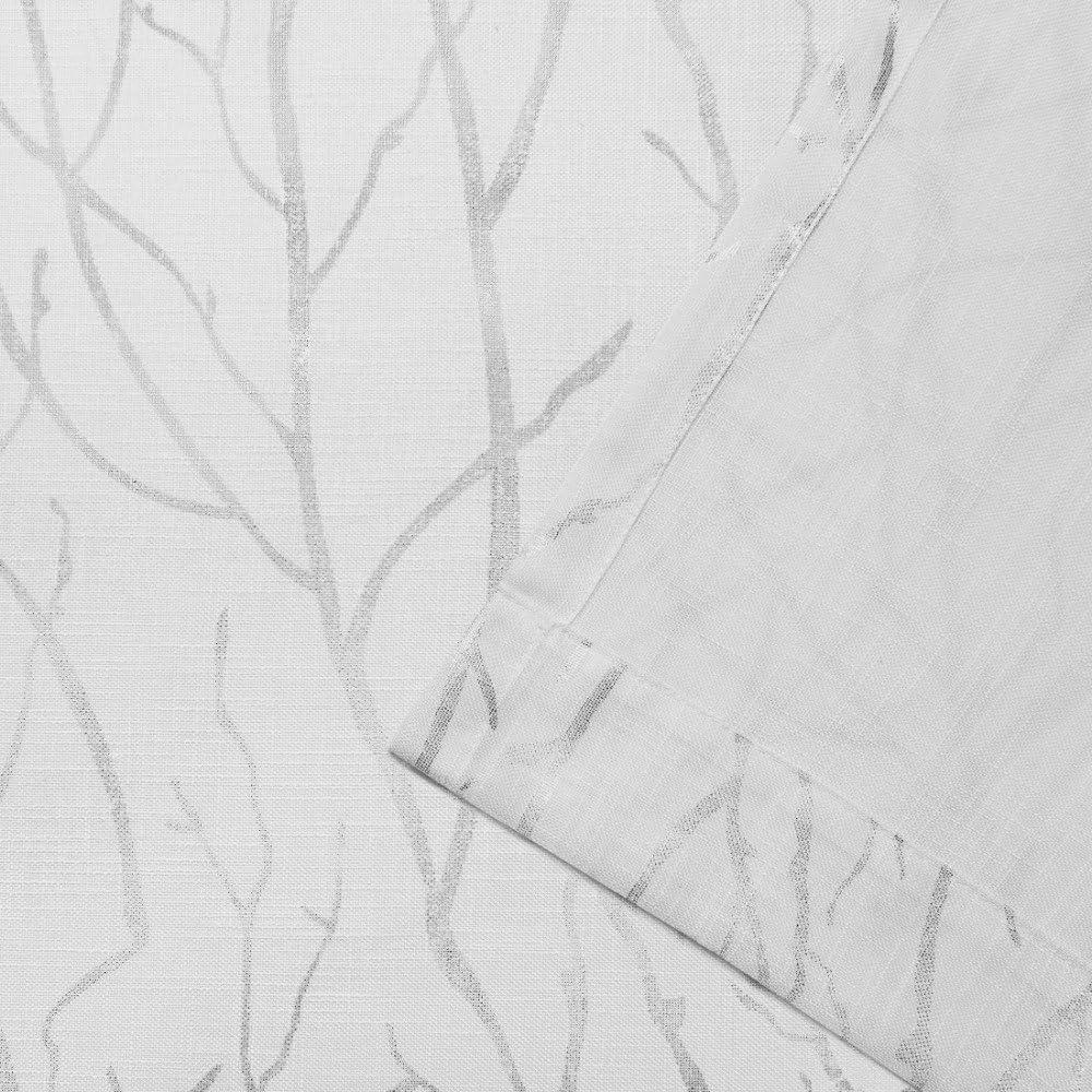 Invierno Oro Home Exclusive Exclusiva casa Bosque Impreso met/álico Rama con Textura Lino Sheer Ojal met/álico en la Parte Superior Ventana Cortina Panel par 54/x 108/cm