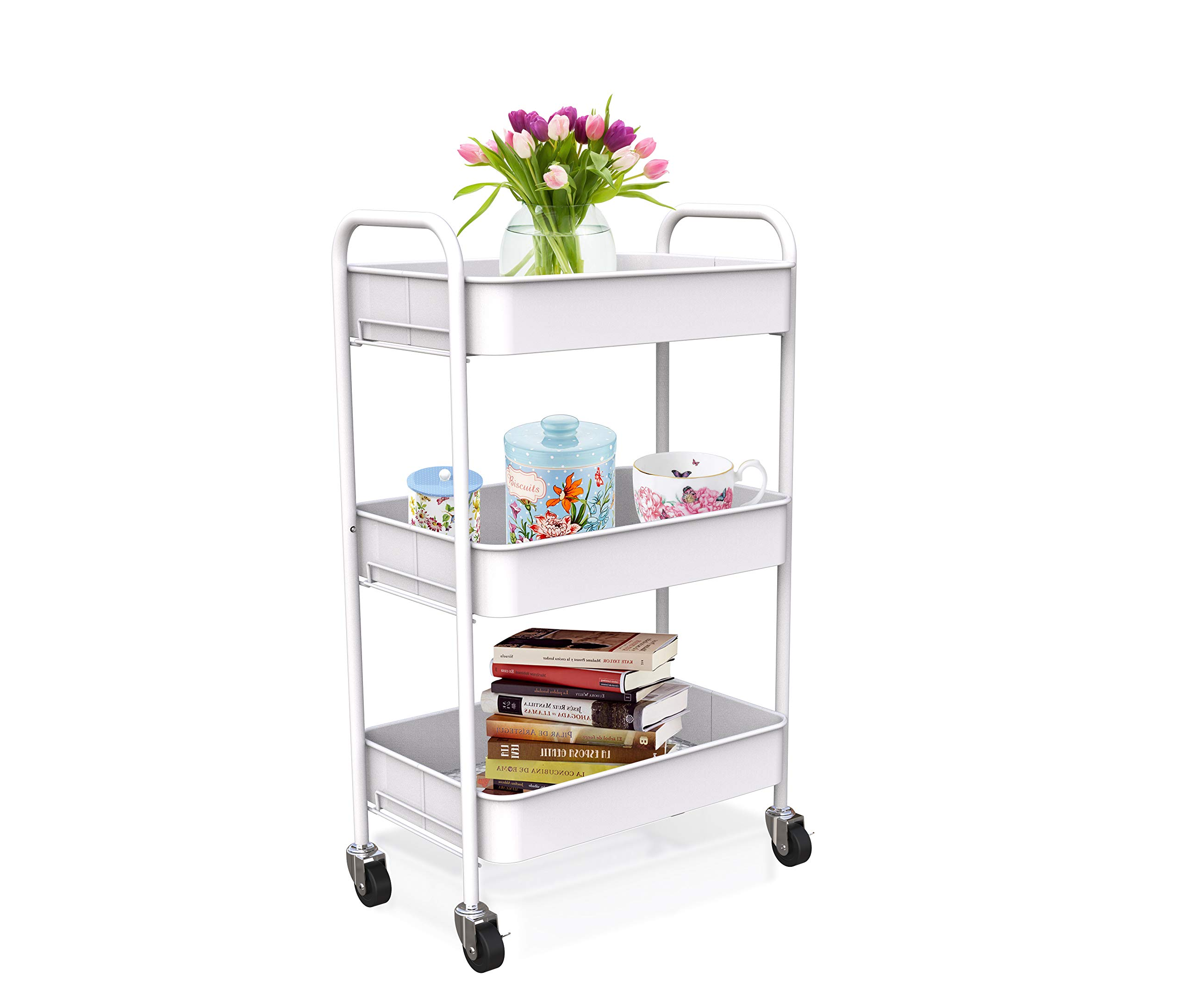 CAXXA 3-Tier Rolling Metal Storage Organizer - Mobile Utility Cart with Caster Wheels, White