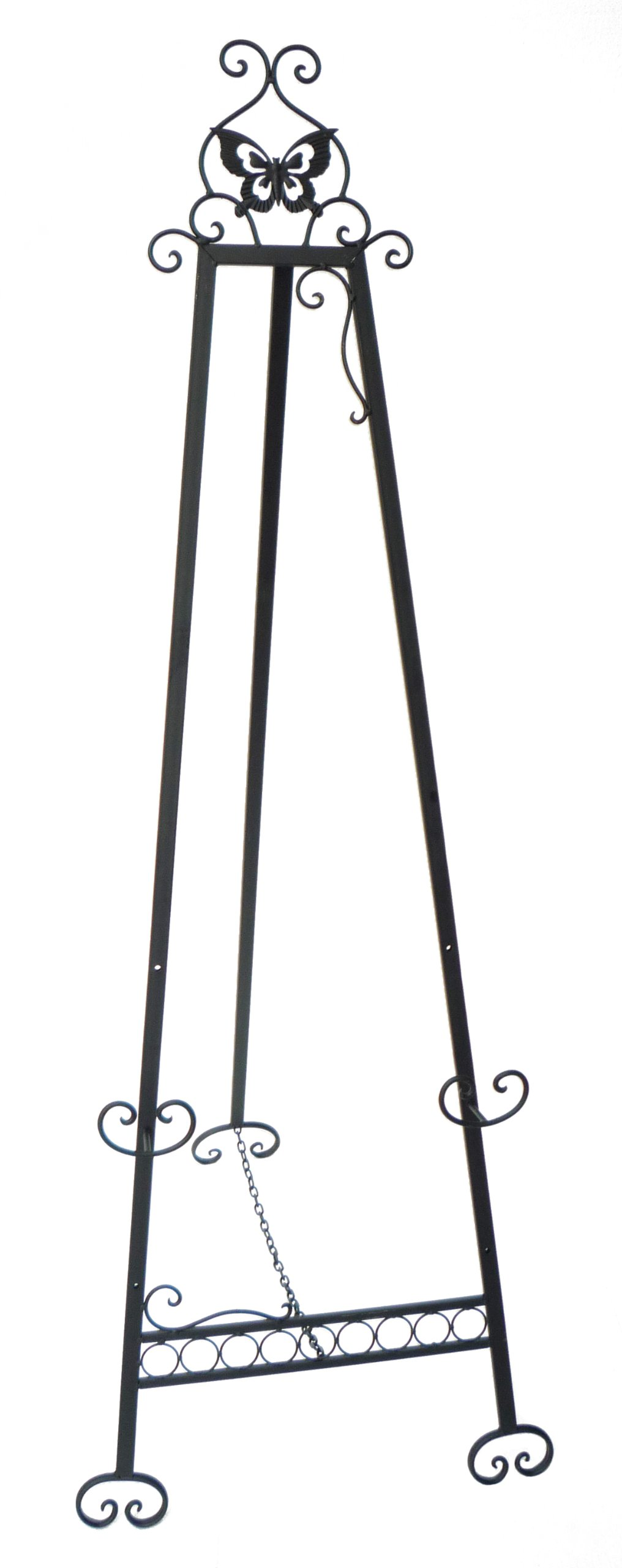 Designstyles Decorative Metal Easel Stand - Adjustable Floor Display for Art Pieces, Signs, Mirrors and Chalk/Dry Erase Boards - 61'' Tall, Antique Finished Iron, Black - Butterfly Design by Designstyles