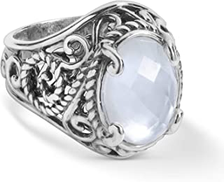 product image for Carolyn Pollack Sterling Silver White Mother of Pearl Doublet Ring Size 5 to 10