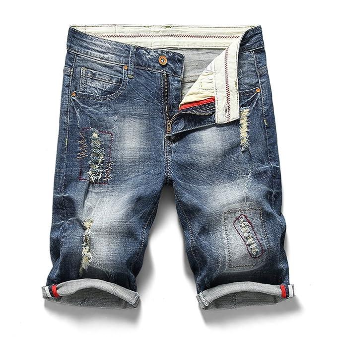 Amazon.com: Bordado pantalones cortos para hombre Slim Fit ...
