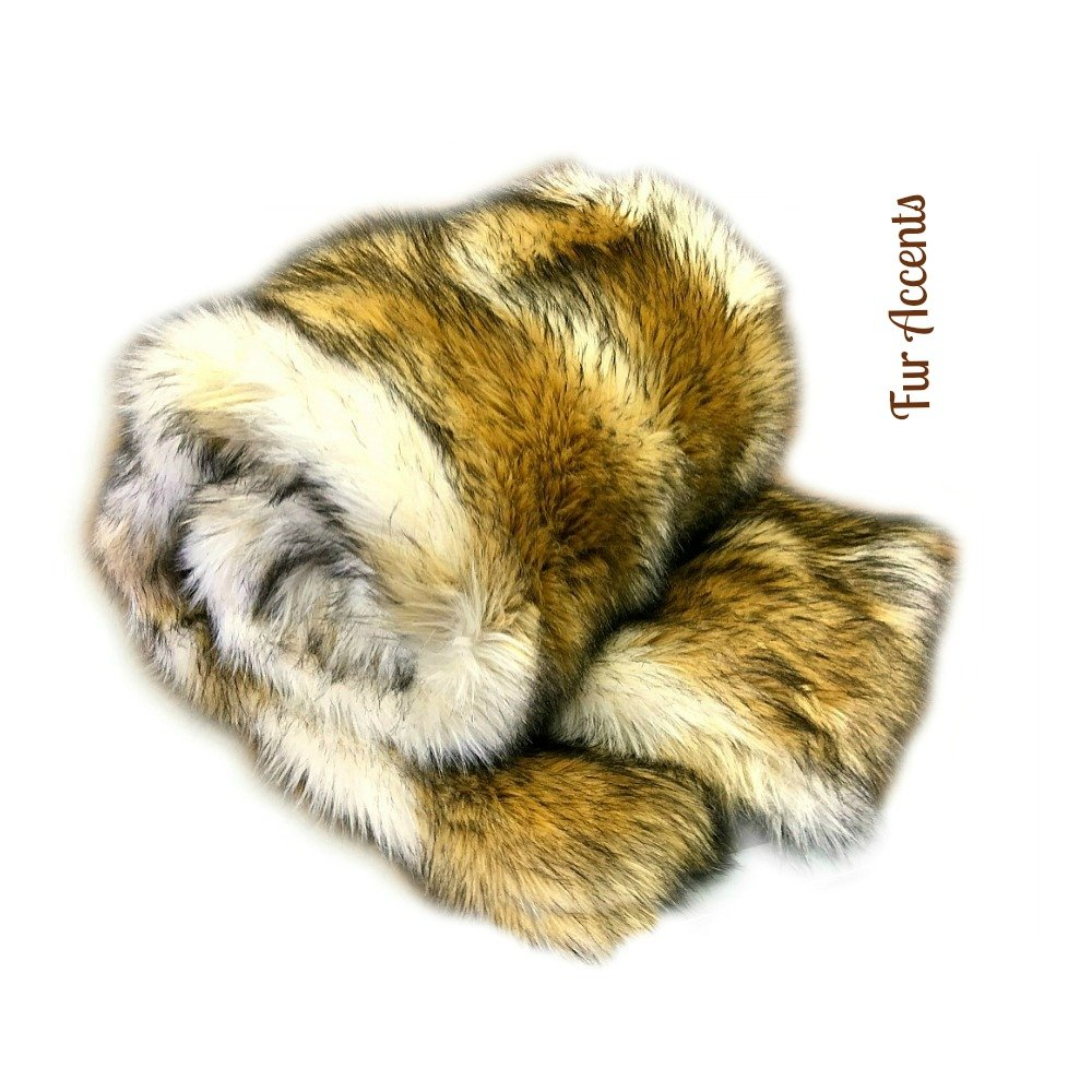 Premium Faux Fur - Brown Coyote Stripe - Wolf Skin Fur Pelt Rug - Art Rug - Sheepskin Shag - Shaggy Throw - Accent Carpet -Kids Bedroom - Play Rug - Nursery - (30''x48'')