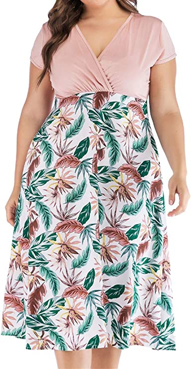 Women Ladies Summer Boho V-Neck Mini Dress Casual Short Sleeve Dresses Plus Size