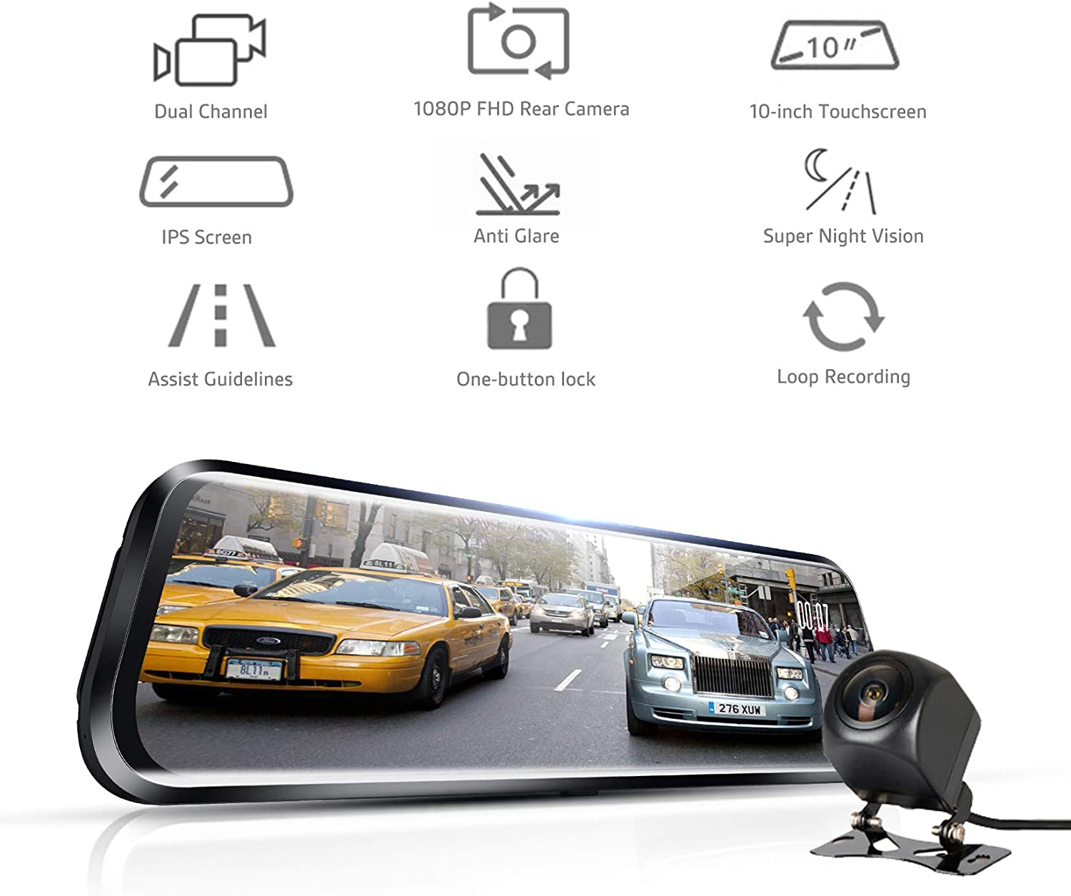 Pruveeo T10 10-inch Touch Screen Dash Cam Dual FHD 1080P Streaming Media Dash Camera for Cars Front and Rear and 170 Degrees Waterproof Backup Camera