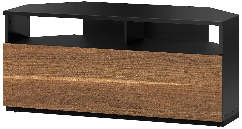 Sonorous Trd100 Meuble Tv D Angle Noir Et Noyer 100 Cm Pour Tv  # Meuble Tv D Angle Noir