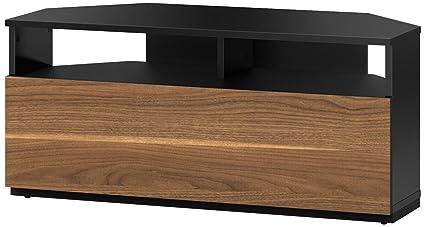 check-out 5f4fd f5fa6 Sonorous TRD100 Meuble TV d'angle Noir et Noyer 100 cm pour TV jusqu'à 50