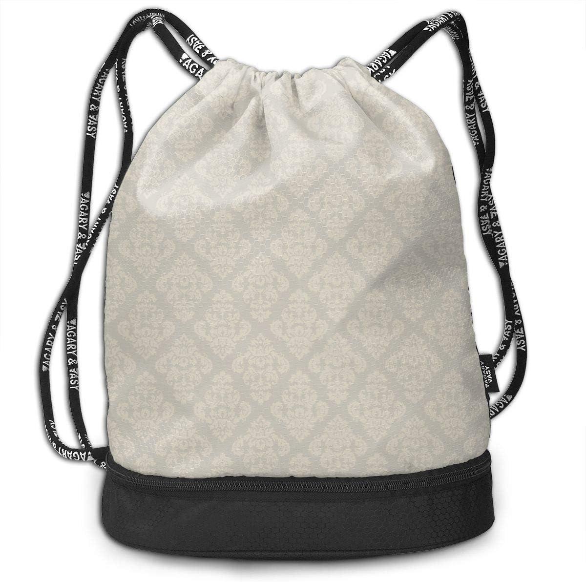 HUOPR5Q European Pattern Drawstring Backpack Sport Gym Sack Shoulder Bulk Bag Dance Bag for School Travel