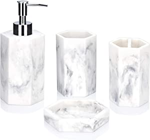YangShiMoeed Marble&Rock Style Bathroom Accessories Sets 4 Pcs,Include Marble Toothbrush Holder,Bath Tumbler,Soap Dispenser,Soap Tray,Great for Modern Bath Sink and Bath tub Decor(White)