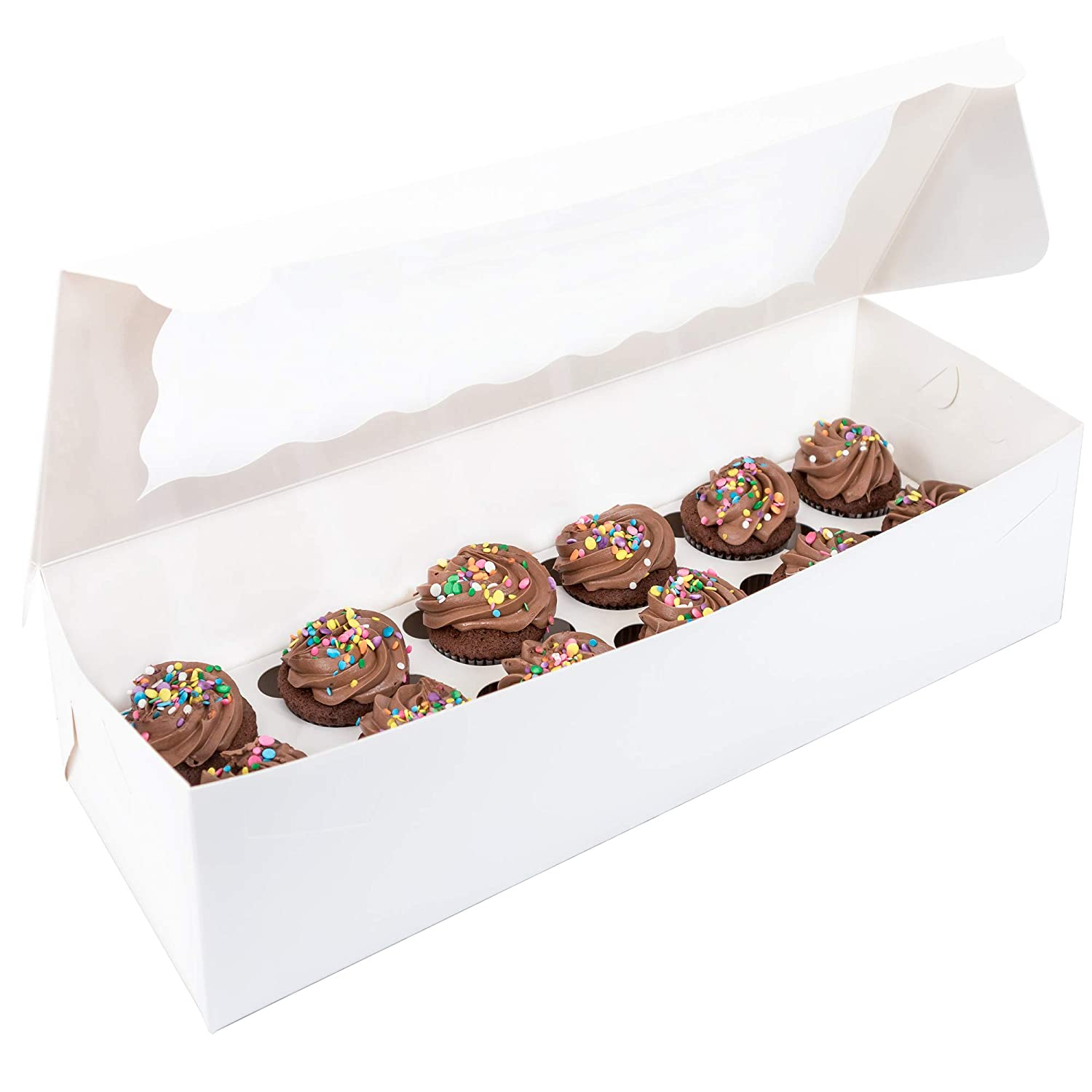 Doris & Birk Cupcake Boxes with Insert Holders and Plastic Window - Disposable Greaseproof Box Carrier Containers or Storage for Cupcakes, Muffins and Other Desserts