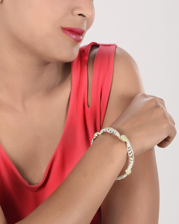 Ratna Indian Bollywood American Diamond CZ Ball Style Ball Cubic Zircon Bangle Bracelet Jewelry