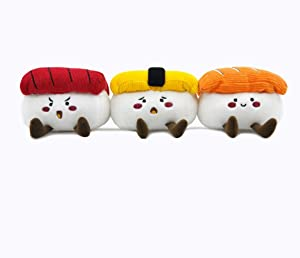 OrilandPet - Foodie Japan Sushi | Squeaky Soft Plush Dog Toys for Small Dogs | Durable Small Dog Chew Toys | Puppy Toys for Teething Small Dogs |Dog Food Toy for Small Medium Dog( 3 Pack)