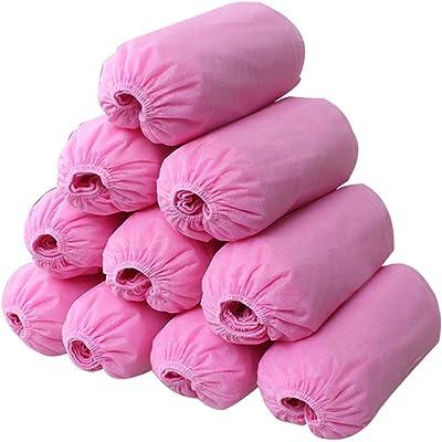 logei® 100pcs chanclos desechables cubierta de zapatos desechables cubre calzado desechables zapatos de manga cubrezapatos fundas de zapatos, rosa