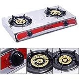 Safstar Portable Propane Gas Stove Stainless Steel Double Burner Kitchen Cooker Hob
