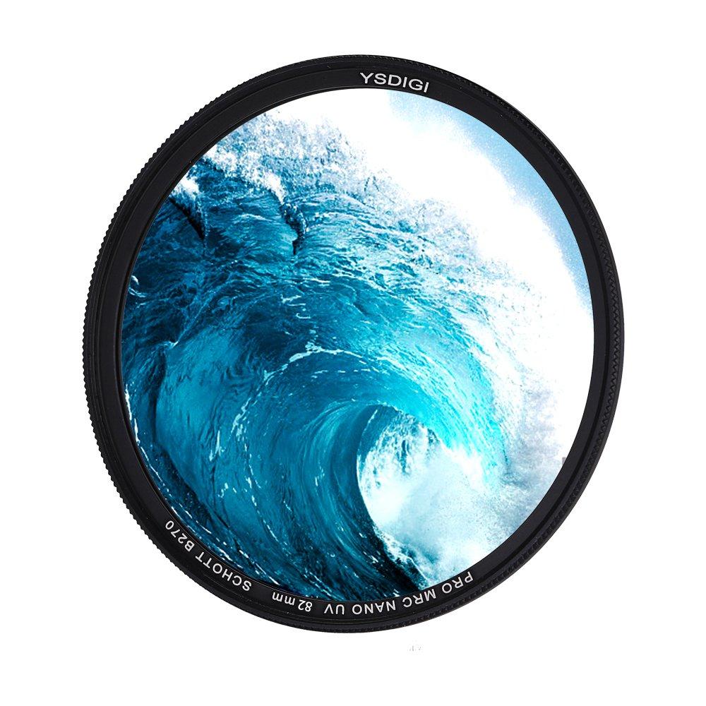YSDIGI Ultra-Slim 82mm UV Filter Lens Filter UV Protection, High Definition Schott B270 Glass, Nano Coatings, for Outdoor Photography.