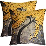 """7ColorRoom Oil Painting Pillow Covers Cotton Linen Throw Pillow Case Set of 2 Home Decorative Cushion Covers 18""""×18 18"""" Yellow"""
