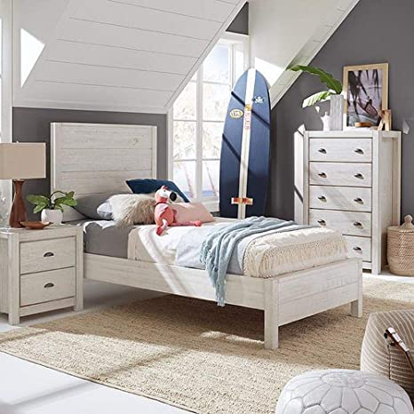 Amazon Com Rustic Platform Bed Frame With Headboard Offers Classic Style And Contemporary Function Solid Wood Twin Size Panel In Distressed Off White Creates Timeless Feel Farmhouse Decor Bedroom Furniture Kitchen