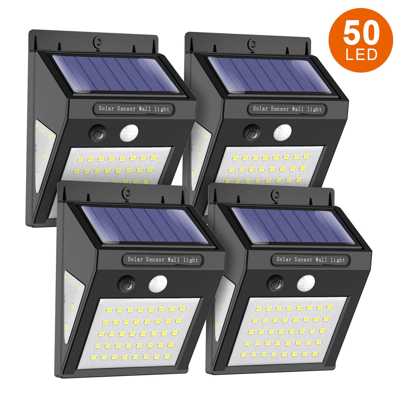 MODAR 50 LED Solar Light Outdoor Motion Sensor Lights with 120° Wide-Angle Detection 270° Lighting Angle, Waterproof Wireless Bright Solar Security Lights for Garage Yard Patio Garden Pathway(4 Pack)