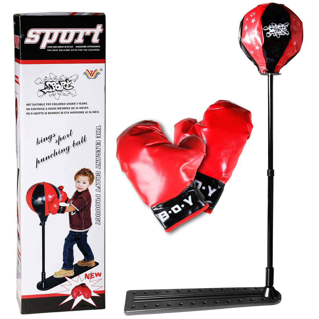 VIVOHOME Boxing Punching BallBag Set with Adjustable Stand and Gloves for Kid over 3 Years