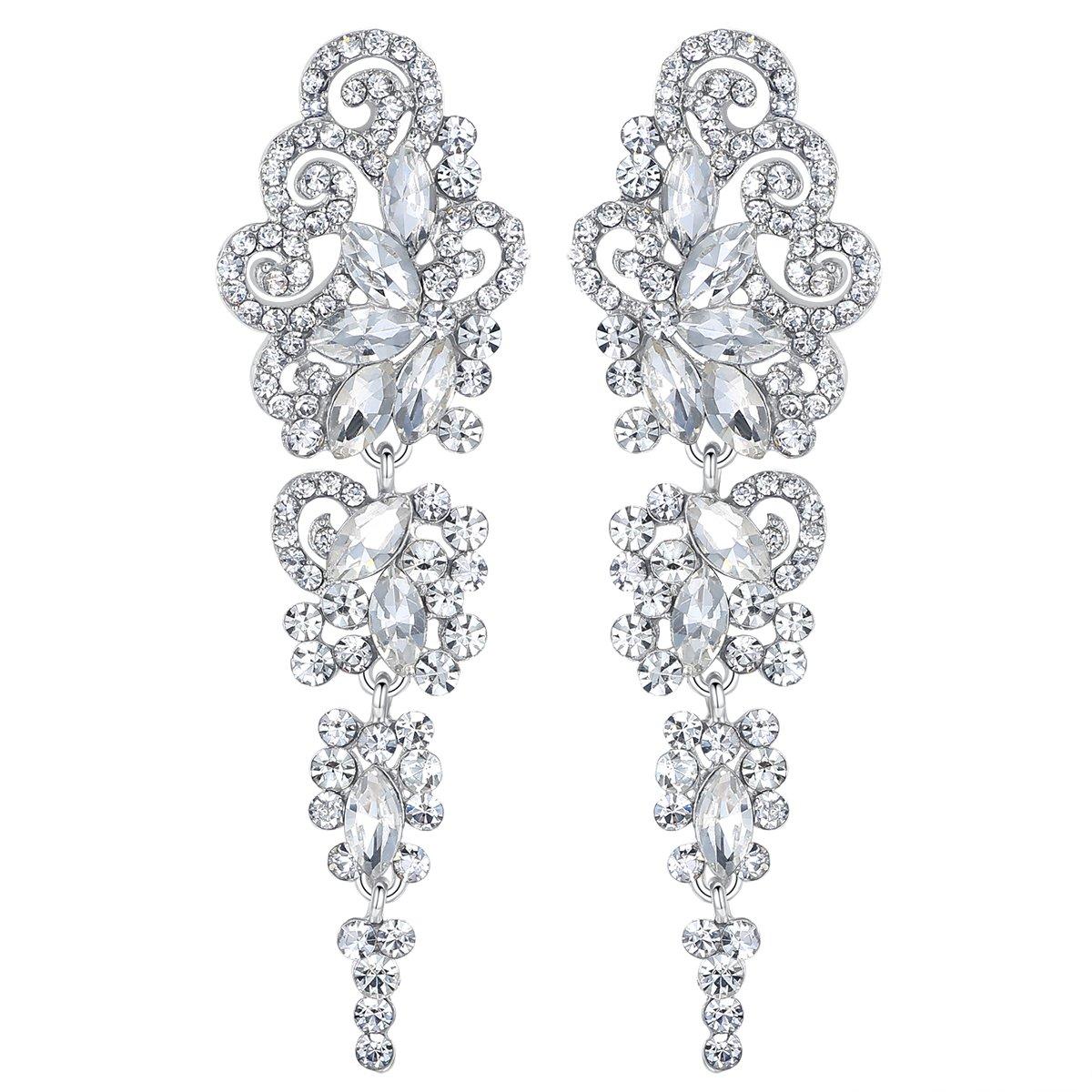 mecresh Drop Crystal Earrings for Women or Wedding, Women's GIFT for Girl or Bride