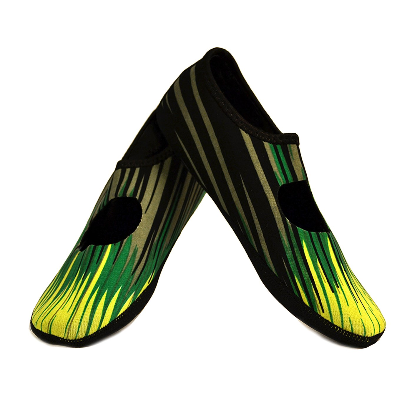 NuFoot Mary Janes Women's Shoes, Best Foldable & Flexible Flats, Slipper Socks, Travel Slippers & Exercise Shoes, Dance Shoes, Yoga Socks, House Shoes, Indoor Slippers, Green Aurora, Extra Large