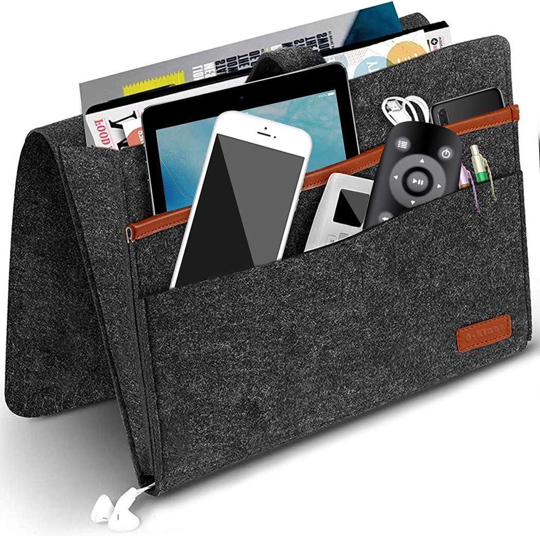Fernbedienung Brille Buch Sofa Organizer Anti-Rutsch Aufbewahrungstasche f/ür Handy iPad Filz Bettablage Organizer Bett Organizer
