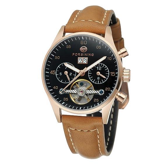 Forsining automático de carga de la mujer día calendario correa de cuero marca reloj de pulsera, colección fsl691 m3b1: Amazon.es: Relojes