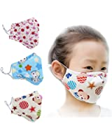 ZWZCYZ Kids Masks Cartoon Cotton Mask Children's PM2.5 Guaze Mask Dustproof Face Mask with N95 Filters Pack of 3