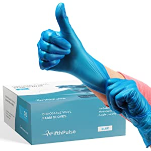 FifthPulse Blue Vinyl Disposable Gloves Large 50 Pack - Latex Free, Powder Free Medical Exam Gloves - Surgical, Home, Cleaning, and Food Gloves - 3 Mil Thickness