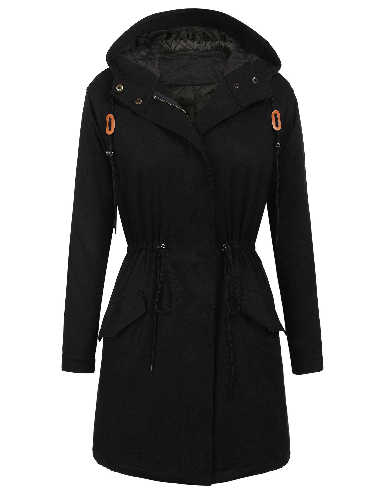 Elesol Women's Winter Hooded Anorak Safari Jacket Quilted Lined Trench Coats Black/XL