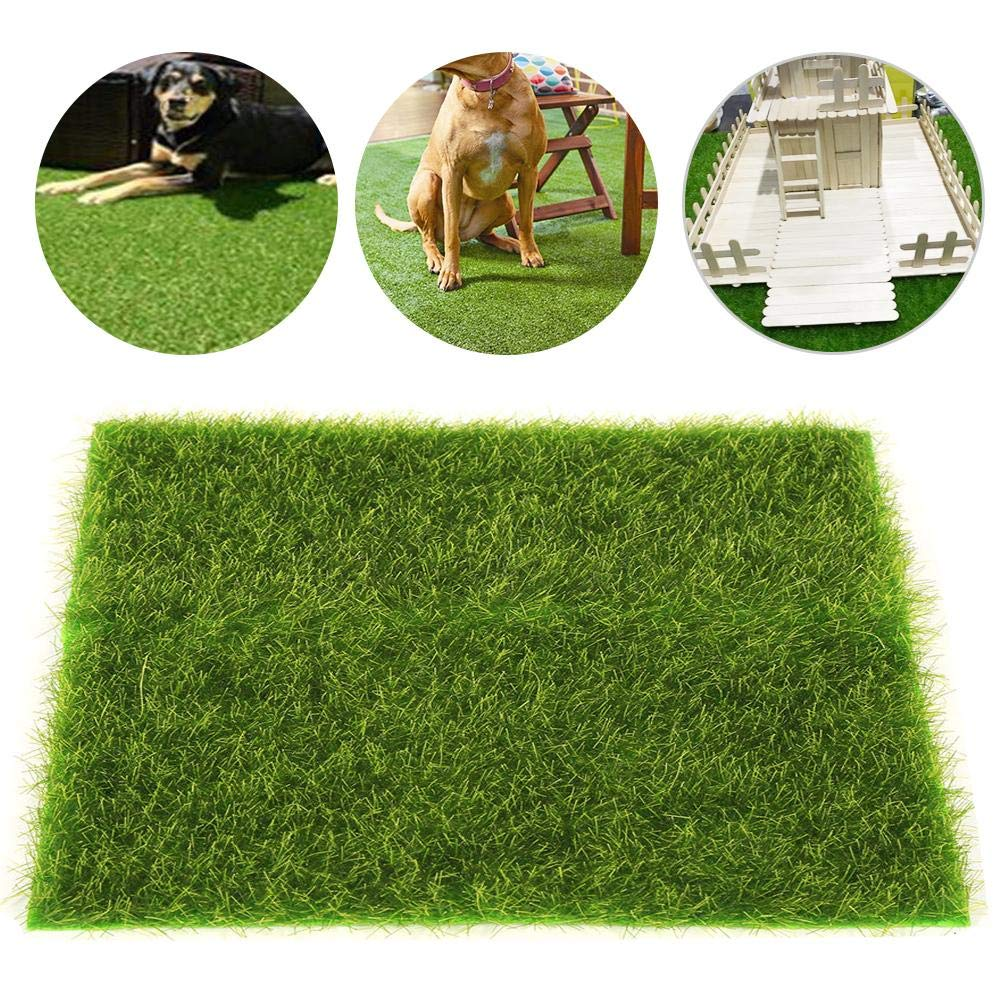 4 Pack Artificial Grass Rug Turf Moss Lawn Carpet Grass Mats Micro Landscape Simulated Green Fake Lawn Grass for Dogs Home Garden Decoration by cheerfullus