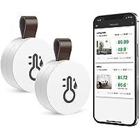 ORIA 2pcs Trådlös Termometer Hygrometer, Mini Bluetooth 5.0 Fuktighets Sensor med Data Export & Varningar för iOS…