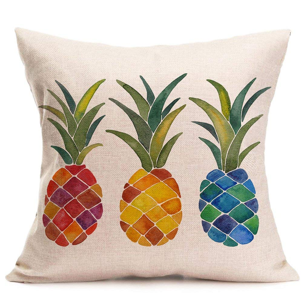 Asamour Pillow Covers Summer Colorful Fresh Pineapple Tropical Fruit Cotton Linen Throw Pillow Case Cushion Cover Outdoor Home Sofa Couch Decorative Square 18x18 Inch (Colorful Pineapple)