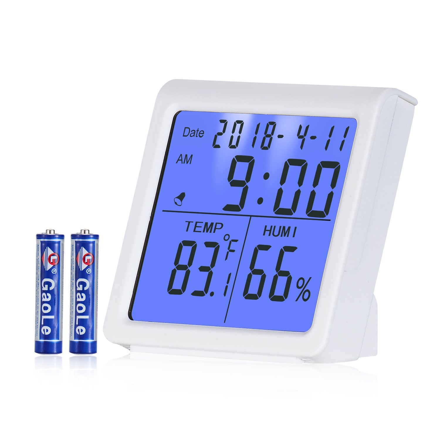 AE Life Temperature Humidity Gauge, Indoor Thermometer Hygrometer with Digital Alarm Clock, Backlit Accurate Monitor Clear Reading, Min/Max Records, °C/°F switch, Calendar, Time Display - White