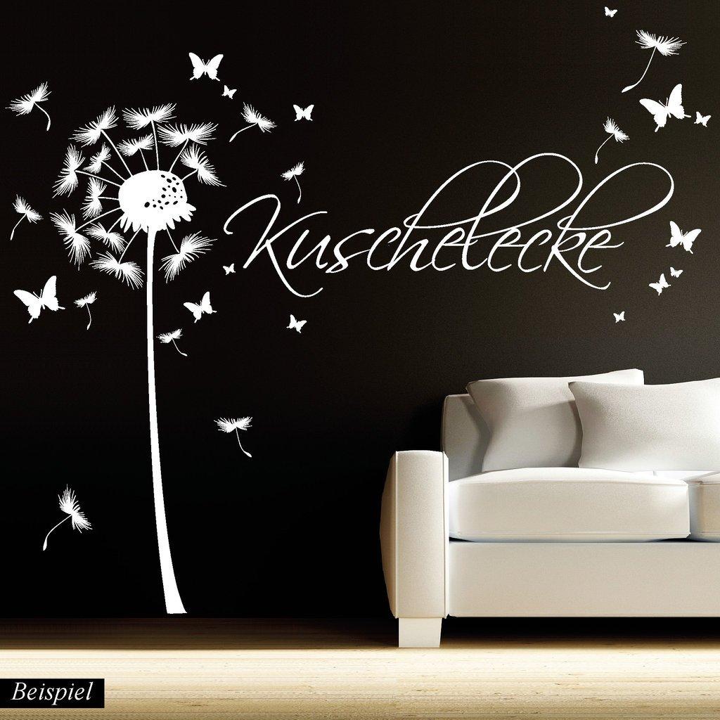 1,14 m H/öhe x 3,59 m Breite 3 Gr/ö/ßen//azurblau Wandtattoo-Loft Wandaufkleber Pusteblume Schmetterling mit Ihrem Wunschtext//bis zu 15 W/örter frei w/ählbar 54 Farben
