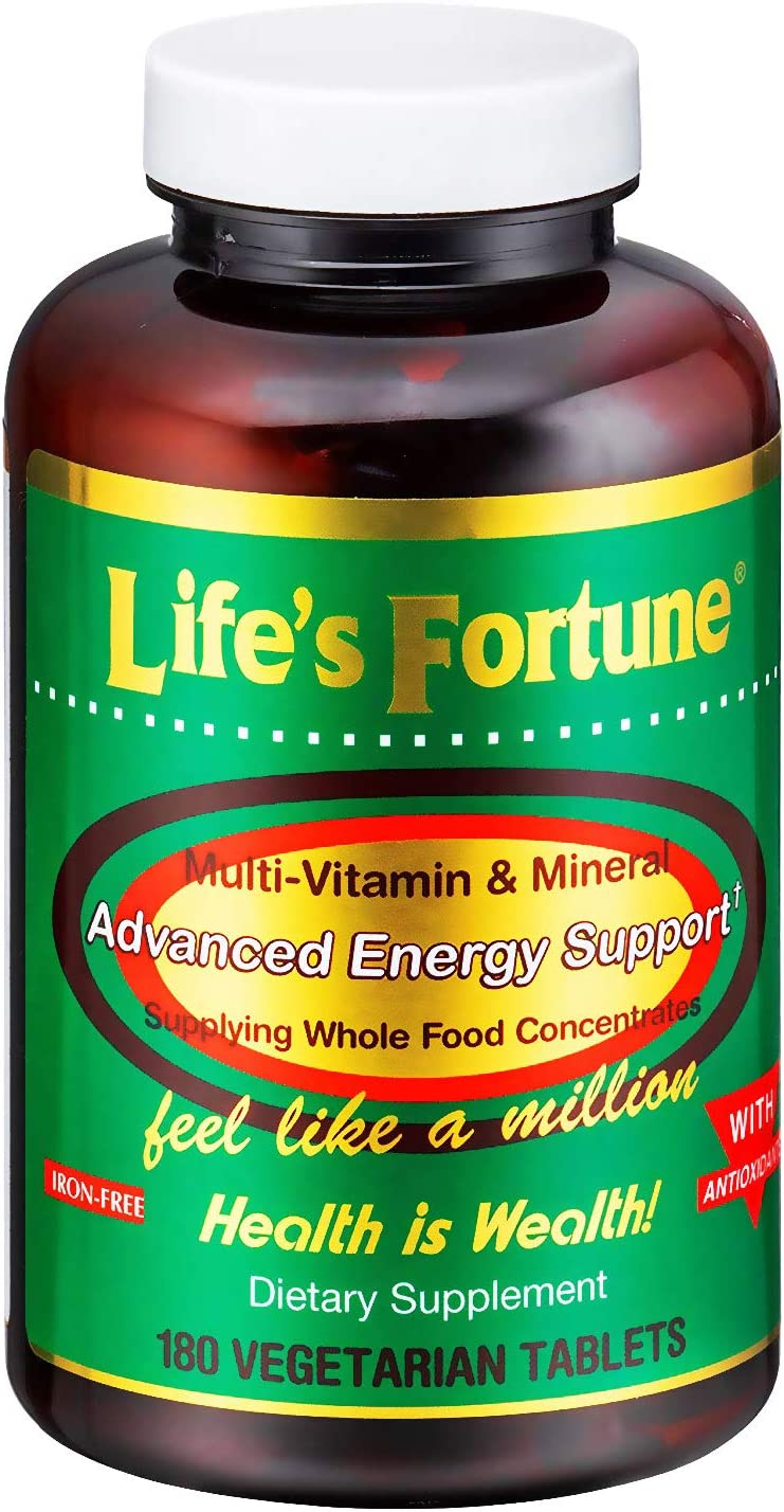 Life s Fortune Multivitamin Mineral 180 Tablets, All Natural Energy Source Supplying Whole Food Concentrates, Antioxidants, Amino Acids, Enzymes, Trace Minerals All Daily Essential Vitamins