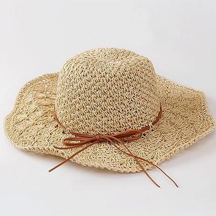 0253f802de8 Image Unavailable. Image not available for. Color  Gaojuan Handmade Straw  Hat Soft Visor Lady Summer Sun Protection Sun Hat Korean Beach Hat Foldable