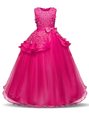Review NNJXD Girl Sleeveless Embroidery Princess Pageant Dresses Kids Prom Ball Gown