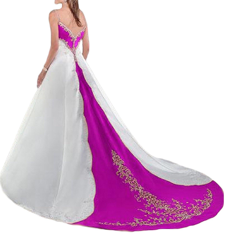 OYISHA Womens Red /&White Embroidery Spaghetti Strap Chapel Wedding Dresses WD31 WD031