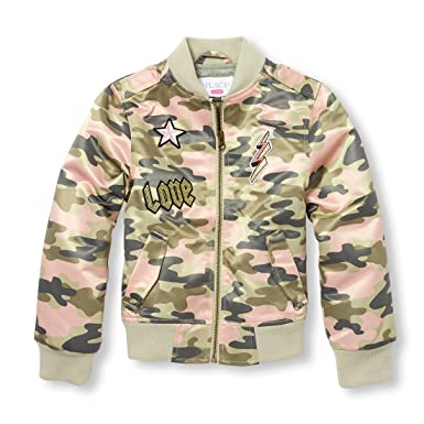 57f95a53a857d3 Amazon.com  The Children s Place Big Girls  Satin Bomber Jacket ...