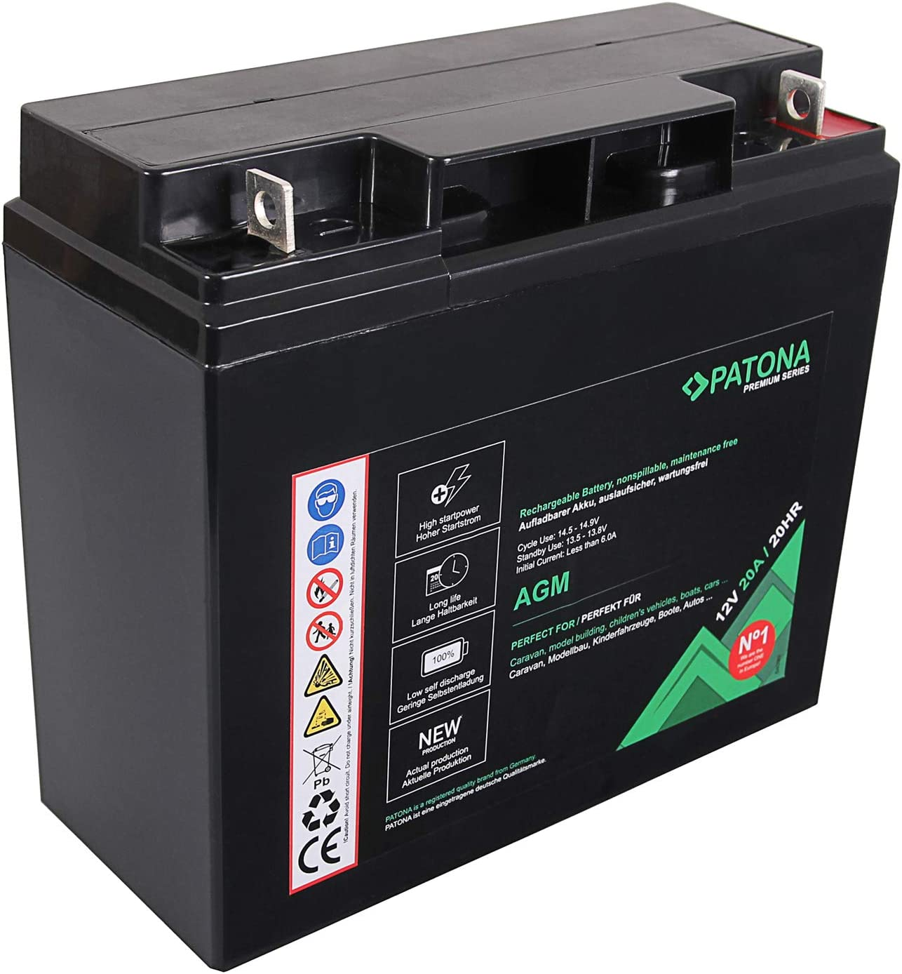 PATONA Premium AGM 12V 20Ah batería de Plomo ácido VRLA Sin Mantenimiento 1800 ciclos