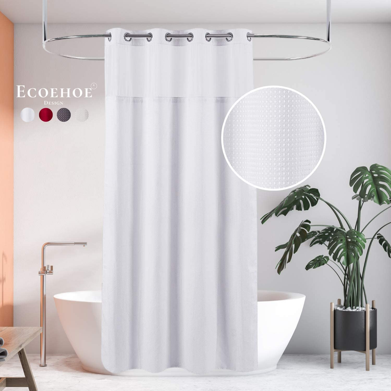 Amazon Com Ecoehoe Hotel Grade Waffle Fabric Hook Free Shower Curtain With Removable Polyester Liner Top See Through 71 W X 79 H Home Kitchen