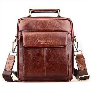 Genda 2Archer Genuine Leather Shoulder Briefcase Business Bag Messenger Satchel Bag(Brown)