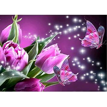 Sunnymi 5d Diamant Stickerei Full Lila Blumen Schmetterlinge Diy