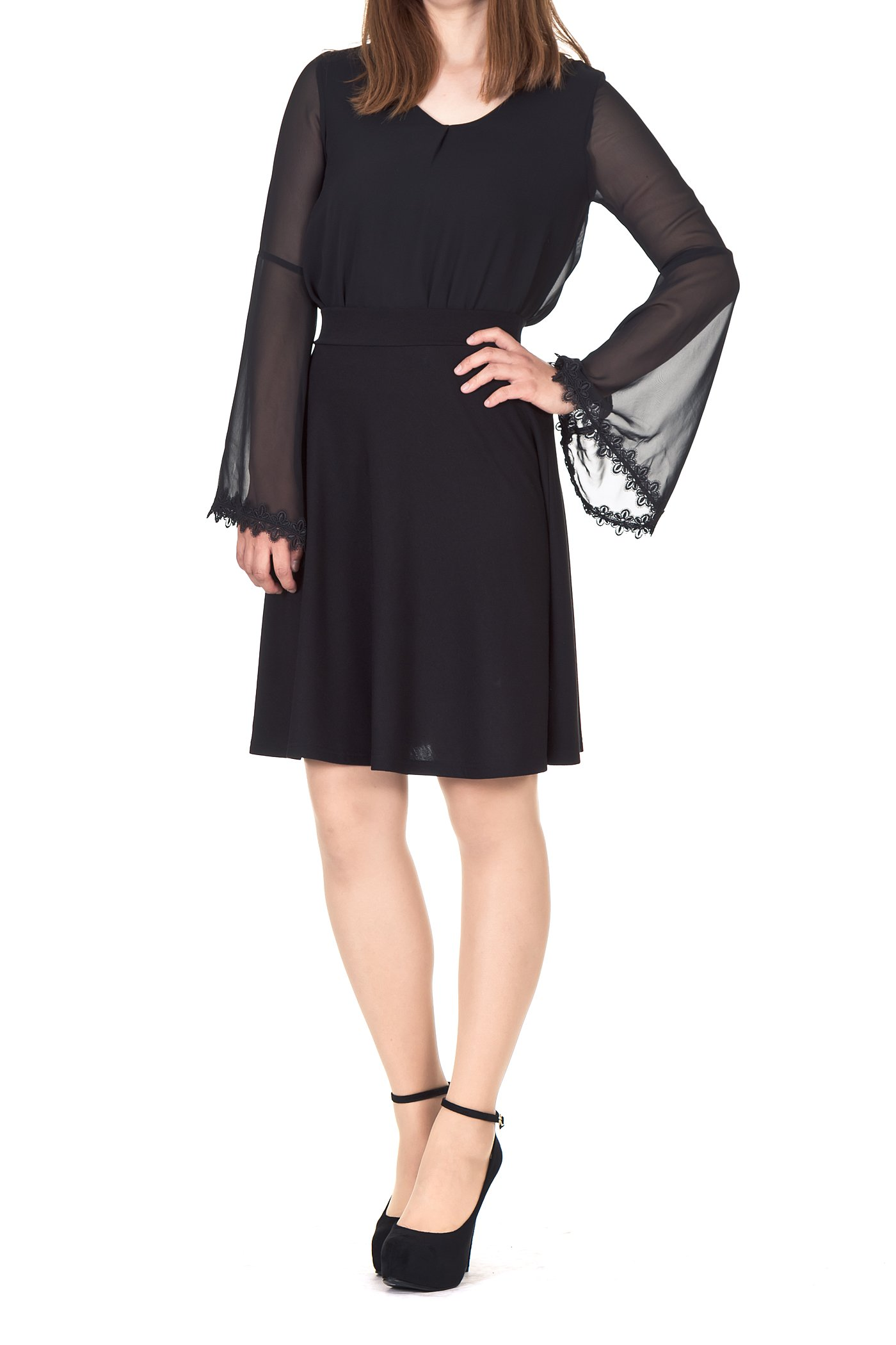 Simple Stretch A-line Flared Knee Length Skirt (XL, Knee Black) by Dani's Choice (Image #1)