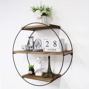 Befayoo Floating Shelves for Wall, Rustic Wood Geometric Style Decor Shelf for Bathroom Bedroom Living Room Kitchen Office (Round, Natural)