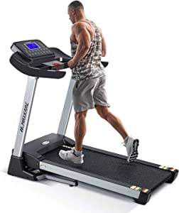 MaxKare Treadmill with 15% Auto Incline,3HP Folding Electric Treadmill, 10 MHP Max Speed Running Machine with 300 LBS Weight Capacity and 15 Preset LCD Display Treadmills for Home Use