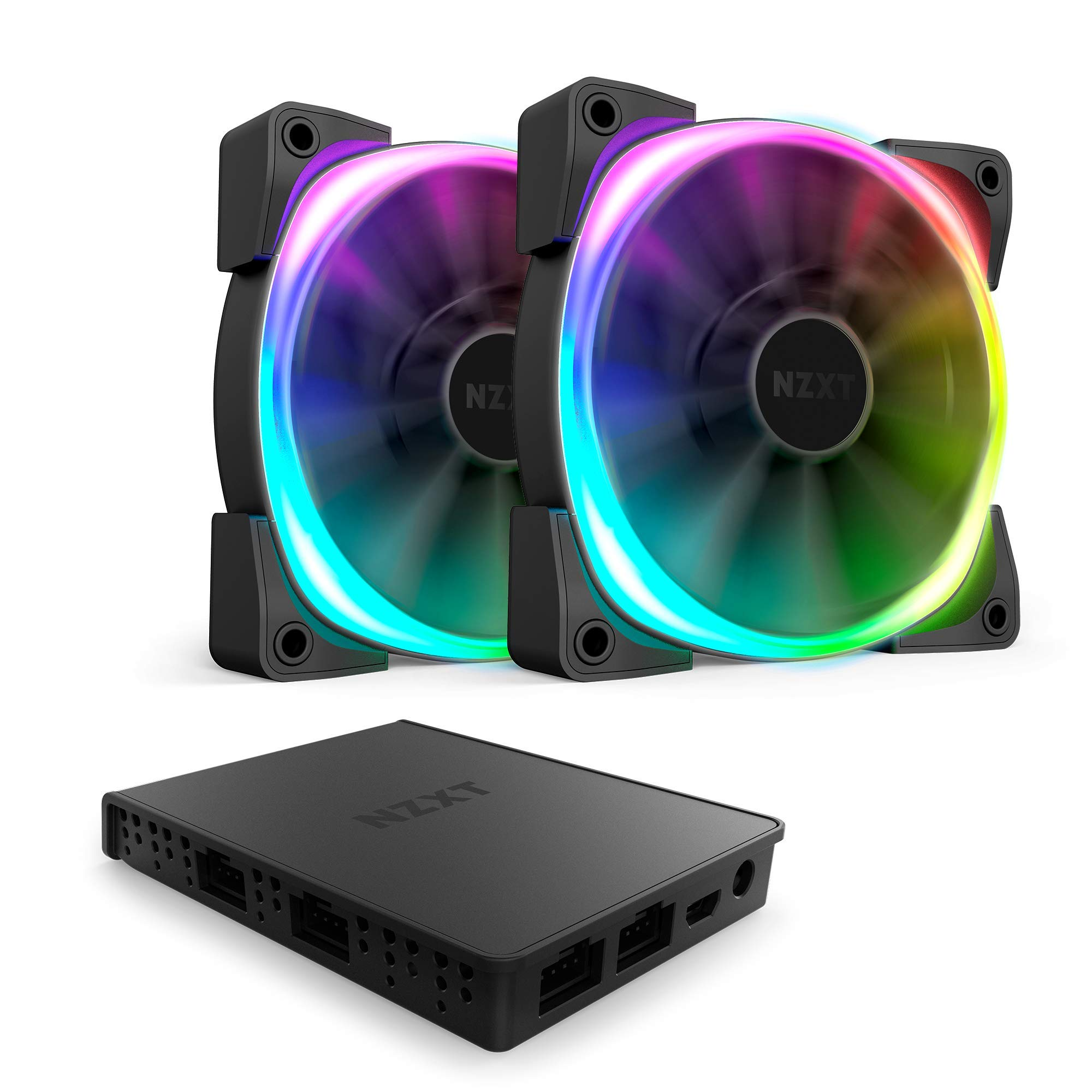 Nzxt AER RGB 2 - 2-Pack of 120mm RGB PWM Fans with HUE 2 Lighting Controller - Advanced Lighting Customization - LED RGB PWM Fans - Winglet Tips - Fluid Dynamic Bearing - PC Case Fan by NZXT