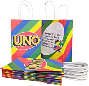 12 Party Bags for Uno Theme, Party Favor Gifts Card Bag, Birthday Treat Bag