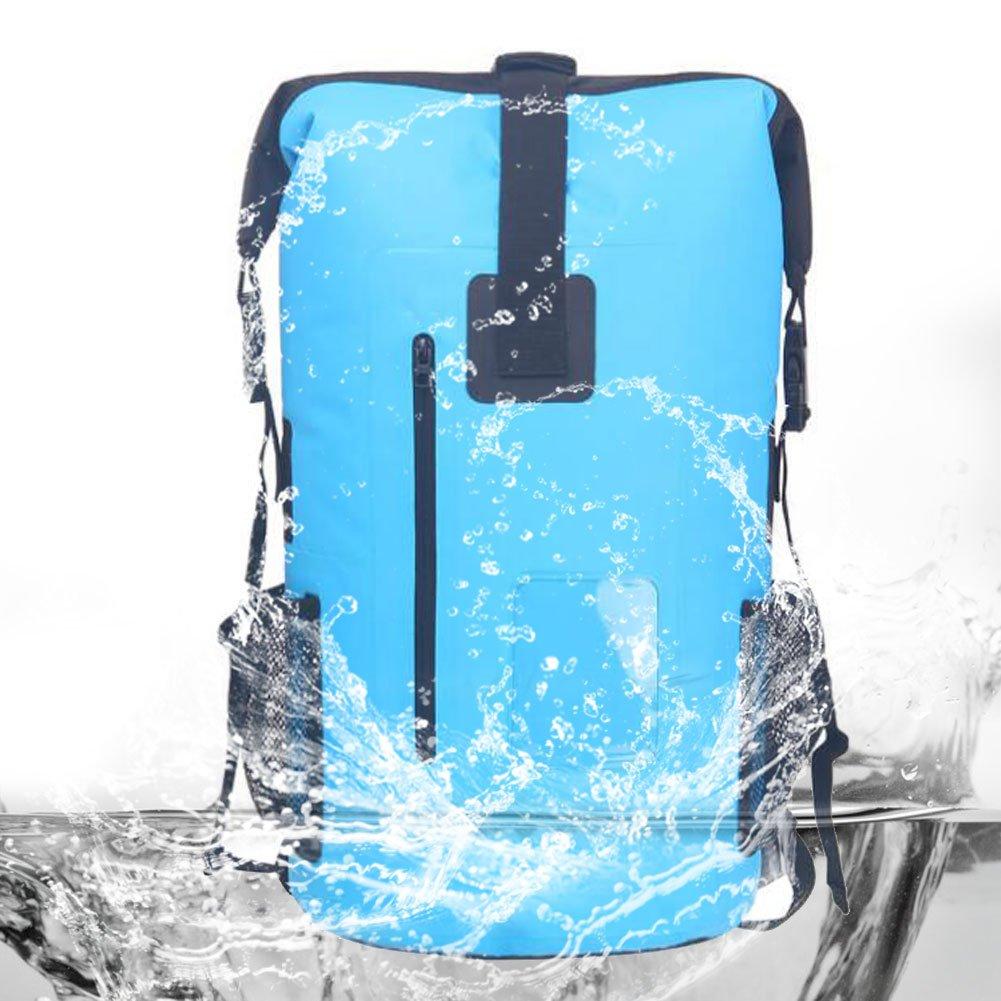 Luoweikadeng 防水バックパック ロールトップドライバッグ ハイキング キャンプ用  ブルー B07DTG9YZF